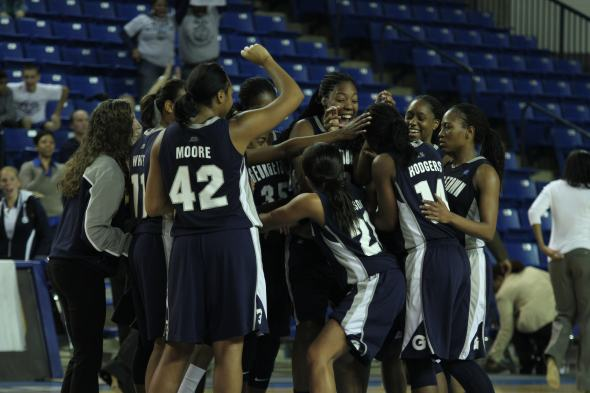 The Lady Hoyes upset #11 Delaware earlier this season