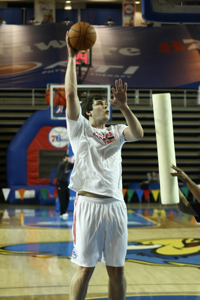 Delaware 87ers newly acquired center Kyrylo Fesenko (34) seen warming up prior a NBA D-league regular season basketball game between the Delaware 87ers (76ers) and the Iowa Energy Tuesday, Jan 14, 2014 at The Bob Carpenter Sports Convocation Center, Newark, DE